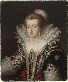 Anne of Denmark (1574-1619), Queen of James I ~ Signed and dated 1837 ~ by Henry Pierce Bone (1779-1855) ~ Henry Bone made a notable success during his career of producing historical sequences of portrait enamels for exhibition and sale. This enamel is from the series of English Sovereigns and Queens from Edward III to Queen Victoria which was completed by Henry Pierce Bone after his father's death in 1834.  Originally painted by Paul van Somer (ca.1576-1621)