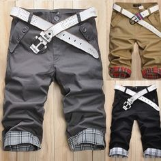 Men Fashion Casual Plaid Pleated Pockets Cropped Zip Pants