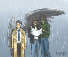 "jinny-thekisaragi:   ""I do have wings, your senses are just too dull to perceive them.""  Sam and Dean don't even realize that it's raining and their friend is soaked because they can't take a break from tracking a wendigo's trail for one gosh diddly darned second. Cas hon you've got a heart of gold UwU"