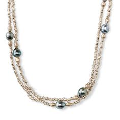 Necklaces - Poseidon's Pearls Necklace South Pacific cultured black pearls, full of the shimmering color that comes from warm waters, mix it up with recycled metal alloy beads from Africa on this dramatic Strand. Long enough to wear knotted doubled, or tripled, this juxtaposition of materials easily morphs from casual to dressy. Button clasp. - Arhaus Jewels
