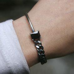 Black CZ Oxidized Sterling Silver Asymmetric Chain Bracelet from kellinsilver.com