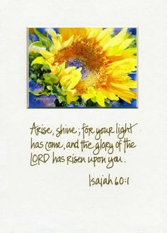 (Isaiah 60:1) Arise, shine, for your light has come, and the glory of the Lord rises upon you.