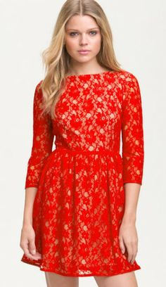 Western new red high waist lace dress 6160