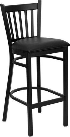 HERCULES Series Black Vertical Back Metal Restaurant Bar Stool with Black Vinyl Seat XU-DG-6R6B-VRT-BAR-BLKV-GG by Flash Furniture
