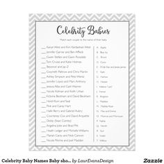 Celebrity Baby Names gray baby shower game! Match each celebrity to the name of their baby.