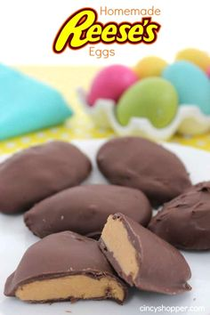 Homemade Reeses Eggs- Great for Easter Baskets.Just wrap in cello bags and tie on a ribbon.