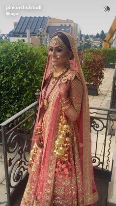 Sabyasachi bride in pink and gold lehenga #bridal lehenga #wedfine