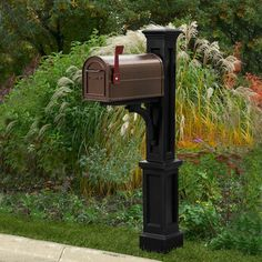 Features: -Includes decorative post and mailbox support arm. -Made from high quality polyethylene. -Built in UV inhibitors for long lasting protection from the elements. -Product ships in 2 boxes