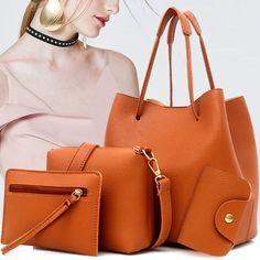 Bagail Women 4 PCS PU Leather Tote Bag Crossbody Bag, Women Hangbags,Leather  Hangbags,Tote Bag  2018