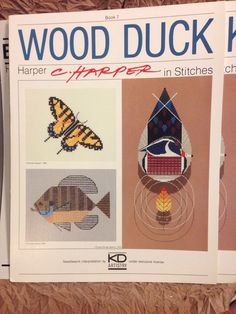 C Harper Wood Duck Cross Stitch Butterfly Blue Gill Fish Pattern Swallowtail Oop