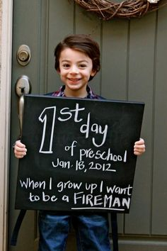 10 Creative Photo Ideas for the First Day of School! Take one every year on the first day of school with what they want to be when they grow up. See how they change through the years.