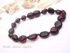 Baltic Amber  Baby Teething Bracelet. Olive  Shape Beads.  Cherry Color. on Etsy, $6.99