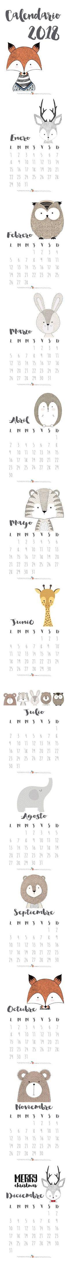 Calendario 2018 Mia mandarina. Ilustraciones de Sabrin Deirani