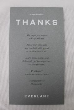 Everlane Thank You Note