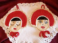 Vintage Pot Holders Adorable 1940's Girl Faces Pot Holders by LasLovelies on Etsy https://www.etsy.com/listing/193760902/vintage-pot-holders-adorable-1940s-girl