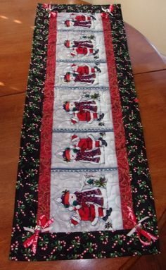 CHRISTMAS SANTA & FROSTY SNOWMAN JINGLE DESIGNER TABLE RUNNER QUILTED TOPPER #FancyThreads