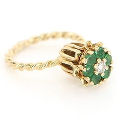 Vintage 14 Karat Yellow Gold Diamond Emerald Tulip Stack Ring.