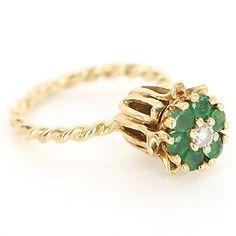 Vintage 14 Karat Yellow Gold Diamond Emerald Tulip Stack Ring.