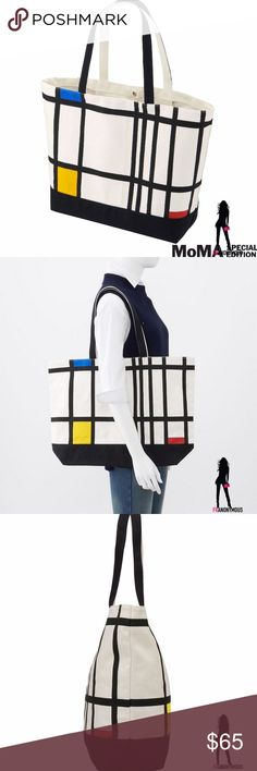 "MoMA Special Edition Mondrian Canvas Tote From SPRZ NY MoMA Special Edition new with tag oversized canvas tote featuring the art of Piet Mondrian. Approved by Mondrian/Holtzman Trust/c/o HCR International. Project 2016 MoMA. 100% cotton. 14.5"" h x 21.7"" w x bottom length 15.7"". Bottom length 15.7"" x bottom width 5.9"", handle length 23.4"". New with tag. MoMA Bags Totes"