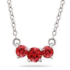 1.00 CTW Ruby  Three Stone Pendant Necklace 14K White Gold