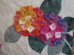 Quilted hydrangeas made following a pattern in Kumiko Sudo's book Fabled Flowers