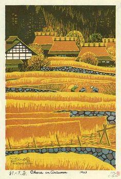 hanga gallery . . . torii gallery: Autumn in Ohara by Shiro Kasamatsu