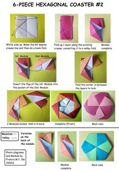 6 Piece Hexagonal Coaster 2 by Francis Ow! Lots of beautiful variations! Origami And Math, Origami Modular, Origami And Kirigami, Origami Ball, Origami Folding, Origami Stars, Origami Flowers, Origami Paper, Oragami