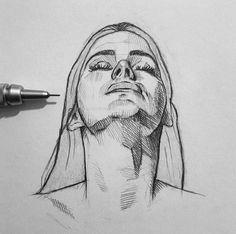 New Art Sketches Portrait Sketches, Art Drawings Sketches Simple, Pencil Art Drawings, Drawing Art, Sketch Painting, Art Sketchbook, Aesthetic Art, New Art, Sketch Instagram