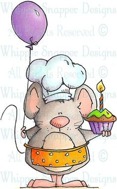 Dog Rubber Stamps | Birthday Baker Mouse - Mice - Animals - Rubber Stamps - Shop