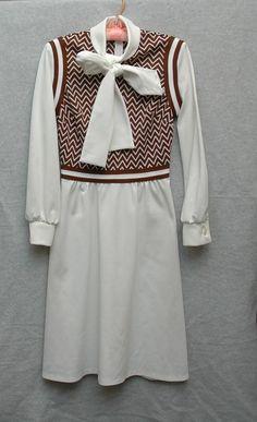 Sweet Angelic Schoolgirl Sailor Uniform 70s Handmade Polyester