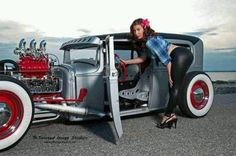 hot rods, bikes , pin up girls and anything else that I think is cool. Rat Rod Girls, Car Girls, Pin Up Girls, Muscle Cars, Hot Rods, Vintage Cars, Antique Cars, Traditional Hot Rod, Custom Cars