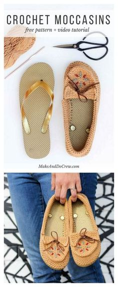 Crochet Diy Crochet Moccasins with Flip Flop Soles Free Pattern - This Crochet Moccasins is so beautiful and brightly designed for everyday. Here is the free pattern on how you can make a pair of similar moccasins. Crochet Sandals, Crochet Boots, Crochet Slippers, Crochet Beanie, Crochet Clothes, Felted Slippers, Filet Crochet, Diy Crochet, Crochet Granny