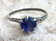 Antique Edwardian Sterling Silver 1.1CT Blue Sapphire Filigree Engagement Wedding Anniversary Ring Size 6.25 by AdornedInHistory on Etsy
