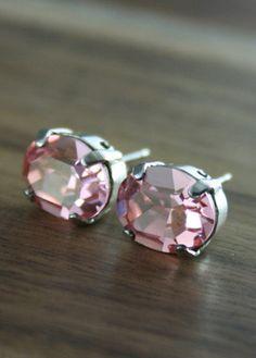 Crystal Oval Stud Earrings Swarovski crystal