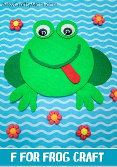 Make this adorable F for Frog Craft using our Printable Template that's perfect for learning about pond animals amphibians letter F rainforest theme or lifecycle of a frog. Crafts For 3 Year Olds, Arts And Crafts For Adults, Arts And Crafts House, Easy Arts And Crafts, Easy Crafts For Kids, Toddler Crafts, Summer Crafts, Baby Crafts, Alphabet Crafts