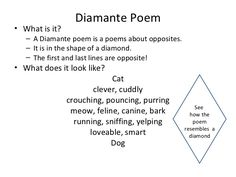 Diamante Poems Teaching Diamante Poem Poems