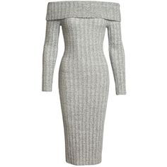 Sans Souci  grey wide rib cowl neck midi dress (95 BRL) ❤ liked on Polyvore featuring dresses, grey, body con dresses, midi sweater dress, stretchy dresses, gray midi dress and bodycon midi dress