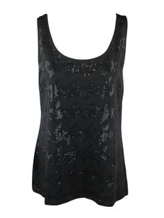 ae6a9a81391da1 Alfani Womens Black Sleeveless Sequin Front Scoopneck Tank Top L Alfani.   33.00. Save 44%!