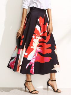 Floral Print Pleated A-Line Midi Skirt -SheIn(Sheinside) Mobile Site