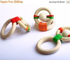 Wooden development toy-Wooden Teething Toy -Choose your color-Newborn gift Items similar to Wooden development toy-Wooden Teething Toy -Choose your color-Newborn gift on Etsy - Baby Development Tips Baby Toys, Newborn Toys, Baby Play, Newborn Gifts, Baby Gifts, Teething Beads, Teething Toys, Baby Sensory, Sensory Toys
