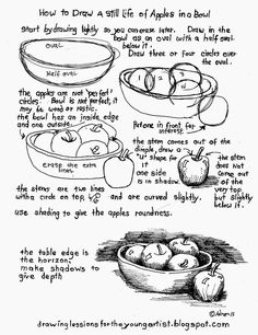 How to Draw Worksheets for The Young Artist: How To Draw A Still Life Of Apples In A Bowl #drawing
