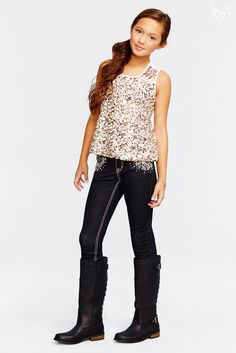 For mega-glam style, pair a sequin-coated tank with dark embellished denim and sparkle on!
