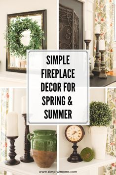 Simple fireplace decor ideas for spring and summer Summer Mantle Decor, Spring Home Decor, Simple Fireplace, Diy Fireplace, Fireplace Decorations, Farmhouse Fireplace, How To Decorate Fireplace, Mantles Decor, Brick Fireplaces