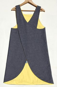 Denim Waterproof Crossover back Japanese Apron by ZUTusine on Etsy