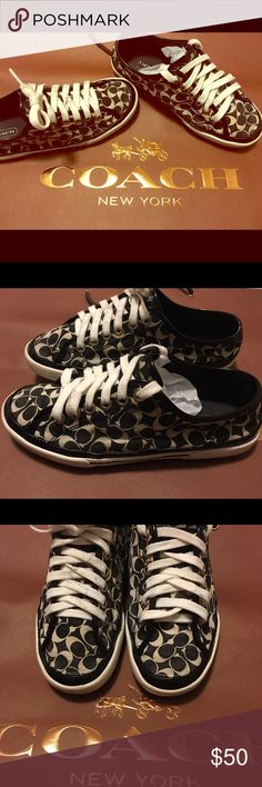 Coach signature sneakers Used but in good condition. Clean soles. No harsh wear. Worn a few times. Black and white canvas material signature coach sneakers. Patent leather trim. women's size 5.5. Cute comfy sneaker for summer. No box. A quick cleaning and will look brand new. Coach Shoes Sneakers