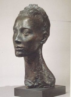 Germaine Richier  La Regodias (1938)    Germaine Richier (France 1902-1959) knew Giacometti and Bourdelle and used a lot of animal symbols in her work. But this is one of her early portraits. The subject is a professional model called Renee Regodias. (The Guardian)