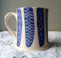 Large mug, decorated in colbalt blue stripes, with scraffitto inspired by design 1950s Design, Mug Decorating, Blue Stripes, Drawer, Plush, Porcelain, Pottery, Clay, Ceramics