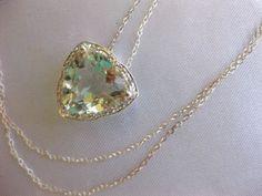 STUNNING 4.79 CT TW GENUINE DIAMOND & GREEN AMETHYST STERLING PENDANT & CHAIN #Pendant