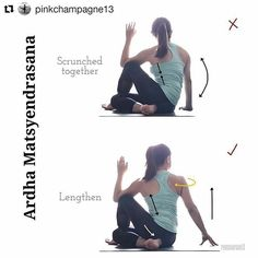 image by  Ardha Matsyendrasana  Half Lord of the Fish Pose on @yogaalignment . . #yogamistakes with @pinkchampagne13    #RuthsYogaTips  . #ArdhaMatsyendrasana Seated #HalfSpinalTwist . Twisting clears all the junk out of your trunk as my teachers always say - It's a slimming pose! #justnoteffectiveonme  . The difference between the top and bottom pic is quite obvious so I won't elaborate much on it. Lengthen before twisting. Doing this ensures twisting happens from the torso area rather than…