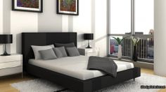 Beautiful Black and White Based Bedroom Design with Elegant Black Leather Frame Bed and White Synthetic Rug also Black White Flower Vase